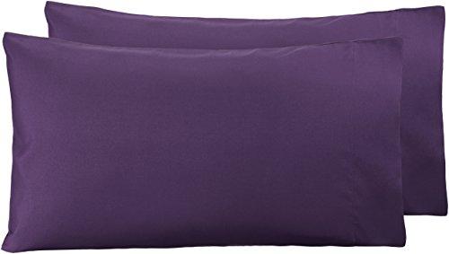 AmazonBasics - Funda de almohada de microfibra, 2 unidades, 50 x 80 cm - Ciruela