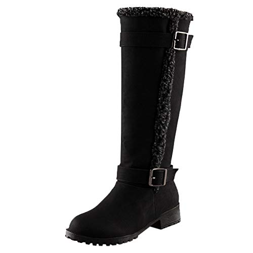 ⚡Makefortune⚡Damen Womens Fell gefüttert Low Block Stiefel mit Absatz Warme Winter Knie Kalb Lange Stiefel Biker Stiefel Größe 3-7