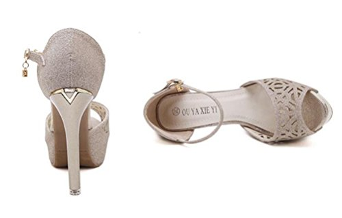 Hochzeit OL Pumps Hohle Obere Plattform 4 cm Stiletto12 cm Ferse Peep Toe Knöchelriemen Casual Vintage Schuhe EU Größe 35-40 Gold