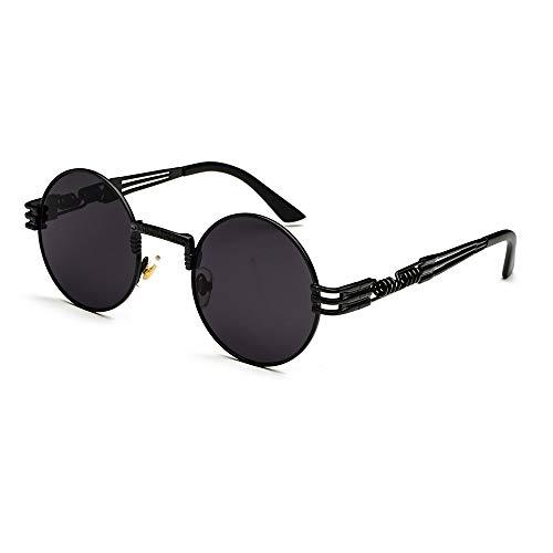 CVOO Retro Sonnenbrille,Steampunk Stil, runder Metallrahmen,für Frauen und Männer (Black frame)