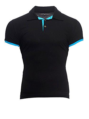 Kayhan Herren Poloshirt Hemd S-5XL Slim Fit Bügelleicht, Super Modern, Super Qualität Schwarz/Türkis