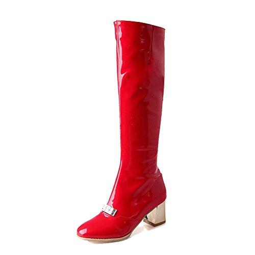 VogueZone009 Donna Puro Punta Tonda Luccichio Cerniera Stivali con Studded Strass Rosso