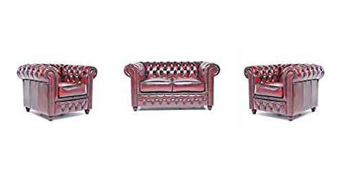 Original Chesterfield Sofas und Sessel – 1 / 1 / 2 Sitzer – Vollständig Handgewaschenes Leder – Antik Rot