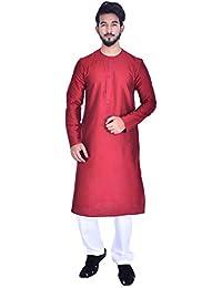 Manyavar Men's Beige Full Sleeve Regular Fit Round Neck Solid Kurta