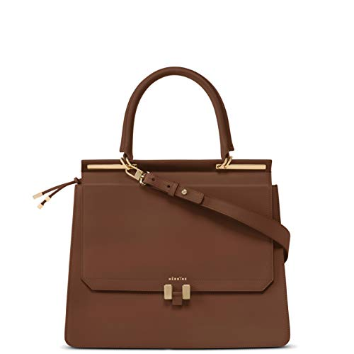 Marlene Laptop 15 Zoll | Handtasche | Damen | Cognac/Hellgrau | Umhängetasche | Leder | Schultertasche | Gepolstertes Laptopfach -