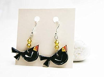 Boucles d'oreilles avec oiseaux - Boucles pour oreilles percées - Boucles d'oreilles fantaisies oiseau - Cadeau St Valentin