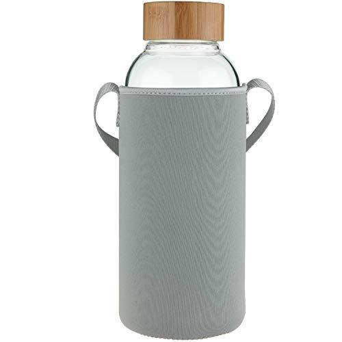 Ferexer 1.5 Liter Sport Borosilikat Trinkflasche Glas Wasserflasche mit Bambus Deckel mit Neoprenhülle 1500 ml / 1.5L