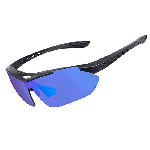 Retro Vintage Sonnenbrille, für Frauen und Männer Tr90 Unbreakable Frame Polarized Sport Sonnenbrille Mit 5 stücke Wechselgläser for Männer Frauen Radfahren Baseball Laufen Angeln Fahren Golf UV Schut