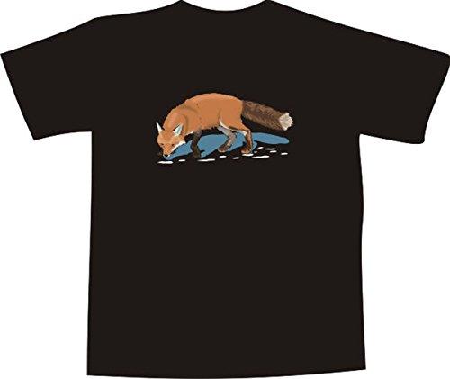 ... Comic Design - schöner Fuchs beim trinken im Wald Mehrfarbig. T-Shirt  E712 Schönes T-Shirt mit farbigem Brustaufdruck - Logo / Grafik -