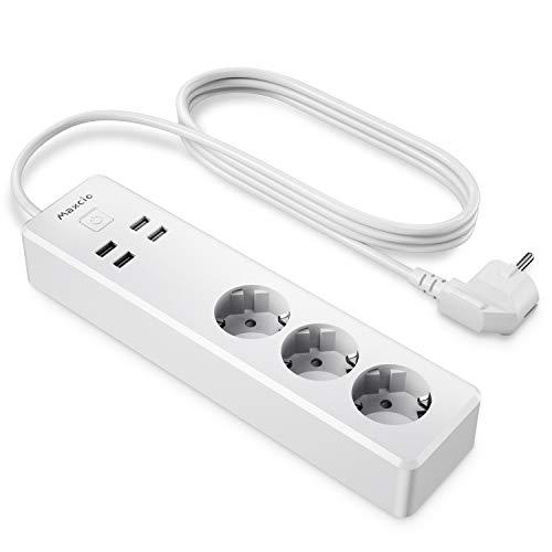 Smart Steckdosenleiste, Maxcio Wlan Steckdosenleiste mit 3 AC-Ausgänge und 4 USB Ports, Überspannungsschutz Mehrfachsteckdose, Kompatibel mit Google Home und IFTTT, APP Fernbedienung