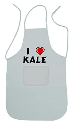 Personalized white apron with text: I love Kale (first name/surname/nickname) by Shopzeus