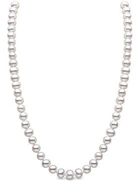 Kimura Perlen Silber Weiße 41cm lange Süßwasser-Zuchtperlen Halskette in A Qualität