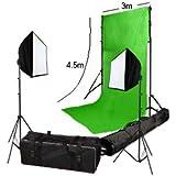 3 m x 4,5 m Chromakey Fond vert avec support, 2 softbox & sacs offerts