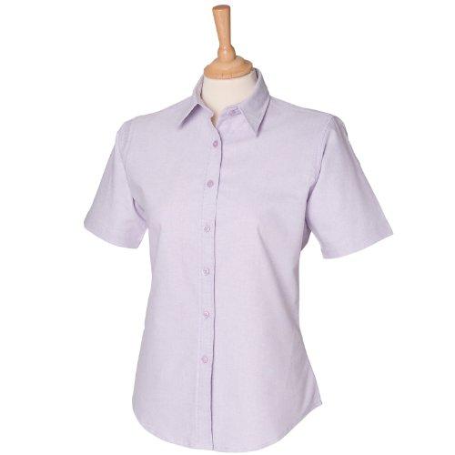 Kurze Ärmel Frauen klassische Oxford-Hemd Lila