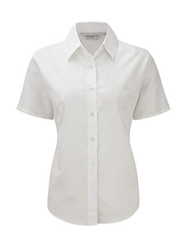 Russell Collection Easy Care Oxford Bluse, Kurzarm 6XL,Weiß