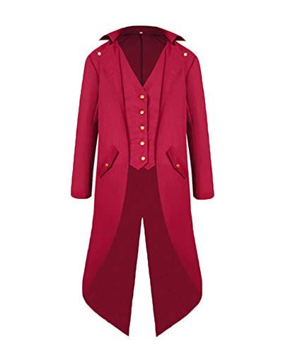 Herren Steampunk Vintage Frack Jacke Gothic Victorian Uniform Kostüm Langer Mantel Rot S (Kreative Herren Halloween Kostüme)