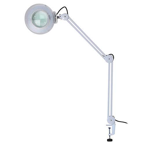 8x Lampada con LED lente d\' ingrandimento, Lampada da lavoro cosmetica, LED Illuminante Magnifier con stativo regolabile, Luce Bianca Fredda per Estetista, Laboratorio e Lavori di Precisione