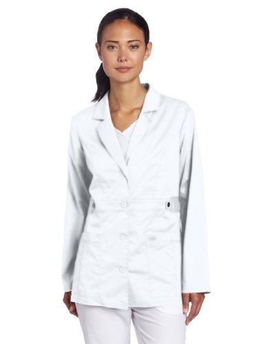 1a6f824c3eb Dickies Women's Gen Flex Junior Fit Contrast Stitch Lab Coat, White,  XX-Large
