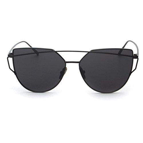 Ularma Damen Twin-Träger Vintage Classic Metallrahmen Sonnenbrille Katzenaugen Brille Reflektierenden Spiegel (Schwarz1)