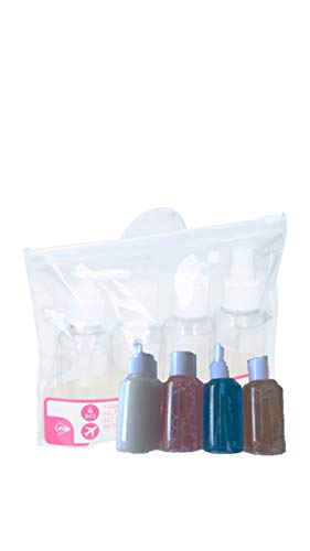 Reise-Flaschen-Set, 4er Set für Shampoo/Duschgel, 1 x wiederverschließbarer Klarsicht-Beutel, 4 x Etiketten zum Beschriften, Handgepäck Kosmetik-Set