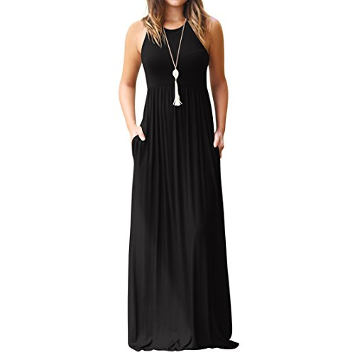 Maxi Dress, Women's Plain Casual Loose Long Sleeveless Ankle Length Tunic Summer Swing T-Shirt Dress with Pockets for Beach Party