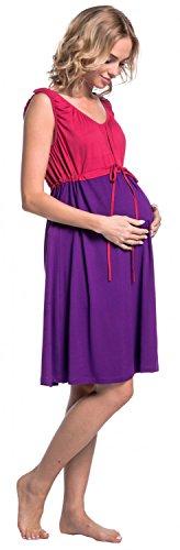 Happy Mama Damen Geburtskleid Krankenhaus Umstands Nachthemd Stillfunktion. 118p Himbeere & Lila