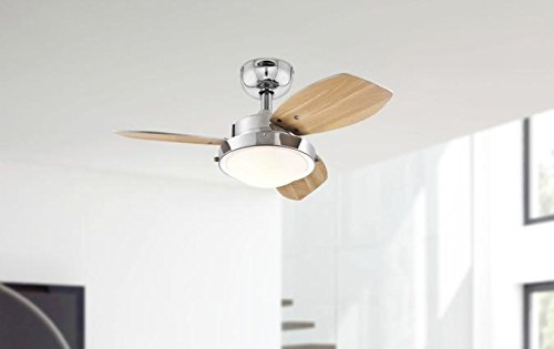 31GGrCXrCAL - Westinghouse Ceiling Fans 78763 Wengue One-Light 76 cm Three-Blade Indoor Ceiling Fan, Chrome Finish with Opal Frosted…