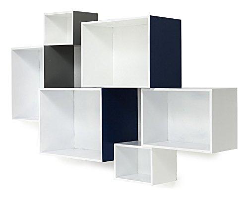 Composition 6 cubes Armoire en MDF laqué mosaiko – extérieur gris, bleu et blanc – Intérieur Blanc