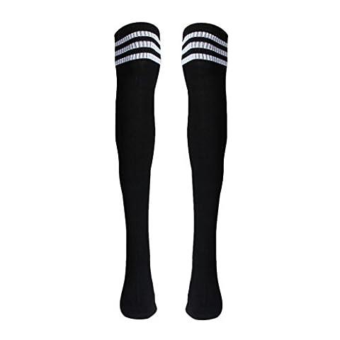 Letter 1 Pair Thigh High Socks Over Knee Girls Football Socks Black (Noir)