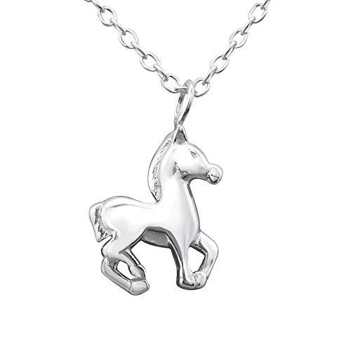 Laimons Mädchen Kinder-Anhänger mit Kette Pferd Pony Sterling Silber 925