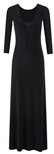 neuen Frauen plus size Trikot Langarm Maxi-Kleid Schaufel Hals strecken maxi (44/46, Black)