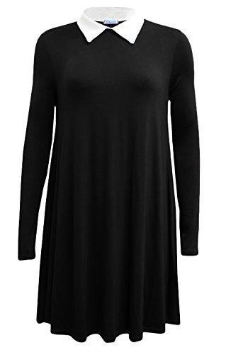 Fashion 4Less Nuovo Donna Maniche Lunghe Plus Size Peterpan Collar Abito Swing. UK 8-26 Black XL-(48-50)