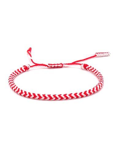 BENAVA Tibetisches Armband Glücksarmband – Freundschaftsarmband Geflochten Rot Weiß