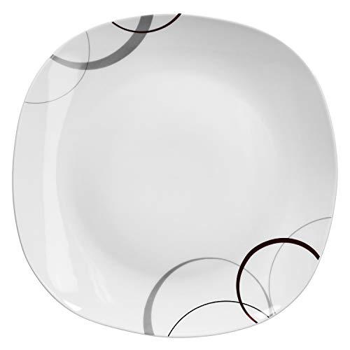 Van Well Buffetplatte Palazzo 28x28 cm | quadratischer Servierteller | XL-Platte | Essteller groß | Abstraktes Design | Porzellan-Geschirr | Gastro Butter Platte