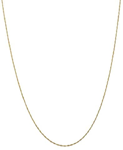 IceCarats 14k Yellow Gold 1mm Link Singapore Chain Necklace 30 Inch