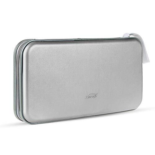 Leder Dvd-rack (CD-Hülle, tragbarer Kunststoff 80pcs Disc CD-DVD-Geldbörsen Aufbewahrungsbox Halter Tasche Hard Box Silber (Color : Silver, Size : M))