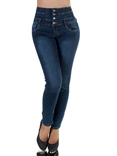 P173 Damen Jeans Hose Corsage Damenjeans High Waist Röhrenjeans Hochbund, Farben:Blau, Größen:38 (M)