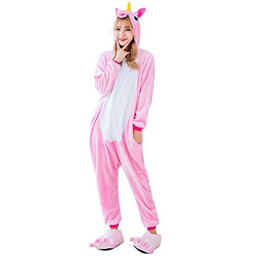 Regalo del unicornio Cosplay pijamas Animal Pijama de una pieza de vestuario Pijamas unisex de dibujos animados equipo de la Navidad para los niños y los adultos (rosa - S)