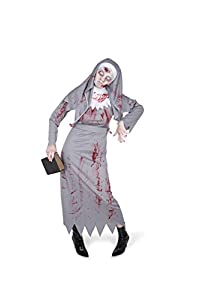 Karnival Costumes- Halloween Zombie Nun Disfraz, Color gris, extra-small (84048)