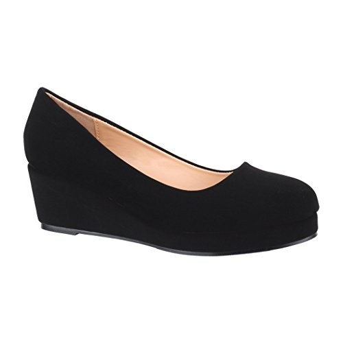 Elara Damen Pumps | Bequem Wedges | Keilabsatz Schuhe Plateau | Chunkyrayan BY8012-SP-Black-38