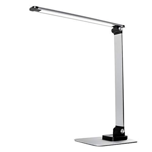 TEQStone Lampe de Bureau LED Dimmable Ultra-mince, Mode Couleur Réglable en Continu et 6 Niveaux de Luminosité, avec Port USB