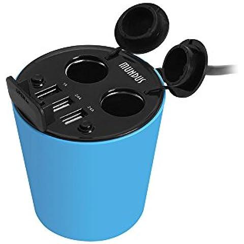 Mundus CM100taza soporte cargador de coche encendedor de cigarrillos de 2sockets adaptador de corriente DC Outlet divisor y 2.4A tres Triple puertos USB para iPhone 6S/6Plus, iPad, Samsung Galaxy S7/S6Edge y más–[entrada: DC 12–24V/10A Max, salida: 100W max] [azul]