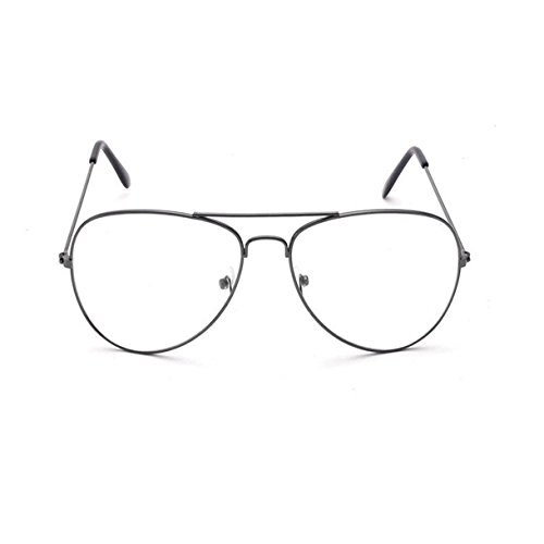 Vintage Pilotenbrille Metallrahmen Fensterglas Brille Ohne Stärke Durchsichtig Nerdbrille...