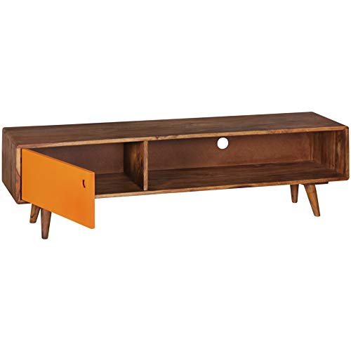 Wohnling Repa Meuble TV avec 1 Porte Motif rétro Marron/Orange 140 x 40 x 35 cm