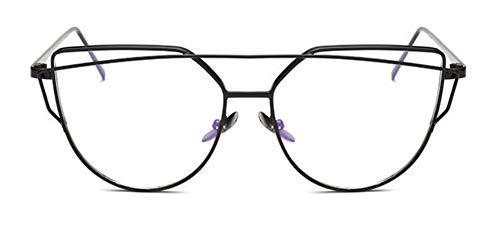 WSKPE Sonnenbrille Cat Eye Brille Objektiv Männer Frauen Klar Gold Metallrahmen Brillen Übergroßen Schwarzen Rahmen Transparenter Linse