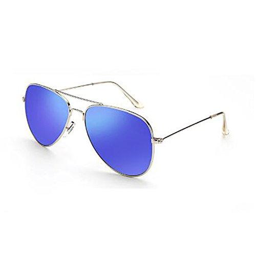 Moolo Sonnenbrille Sonnenbrille Herren Sonnenbrille Polarisierte Frauen Runde Gesicht Paare Treiber Driving UV Schutz Glare Anti-Glare UV400 Augen (Farbe : Silver Frame Dark Blue)