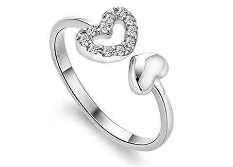 Damen-Ring Verlobungsring Zirkonia Sterling-Silber 925 Silberring hohle weibliche Ring mit 2 Herz