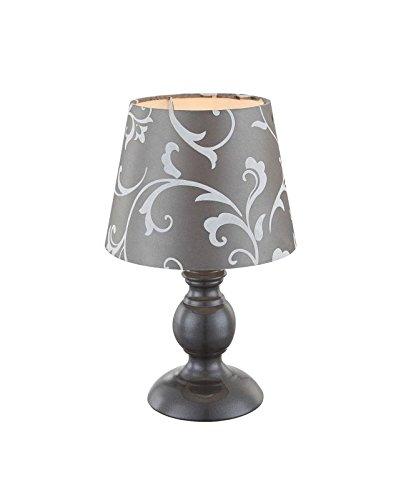 Nachttischleuchte mit Stoffschirm Lampenschirm Nachttischlampe Leselampe Grau (Tischleuchte, Deko Leuchte, Deko Tischlampe, Schlafzimmerlampe, Höhe 28 cm x Durchmesser 17 cm, Fassung E14) - 28 Cm Hoch Tischlampe