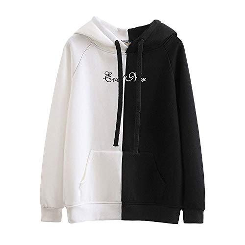 Sweat-Shirt à Manches Longues Automne Hiver Fashion Chemisier Fille Blouse, Pullover LâChe Fleece Blouse Hoodie Japan (Blanc, M(EU=36))