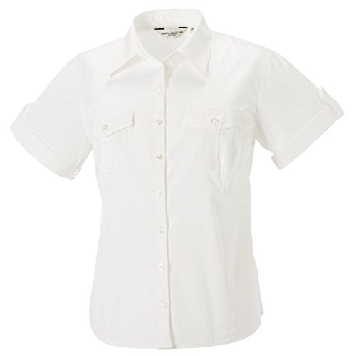 Russell Collection Femme roll-sleeve à manches courtes pour homme Blanc - Blanc